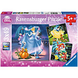 Puzzle Set 3 x 49 Snow White, Ariel and Cinderella