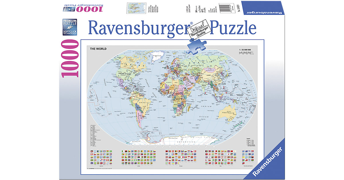 Basic- Politische Weltkarte, 1000 T.