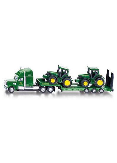SIKU 1837 Tieflader mit 2 John Deere Traktoren  1:87