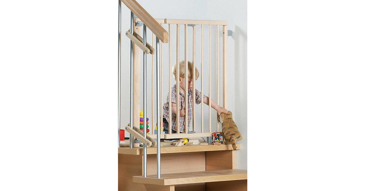 Schwenk- Treppenschutzgitter 99,5 -140 cm, natur braun