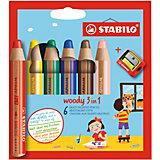 Farbstift woody 3 in 1, inkl. Spitzer, 6 Farben