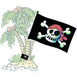 Piratenflagge Pit Planke, mit Flaggenstock