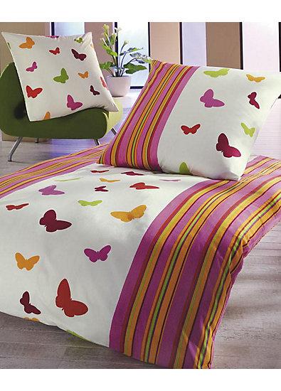 Bettwäsche Schmetterlinge, Cretonne, 135 x 200 cm