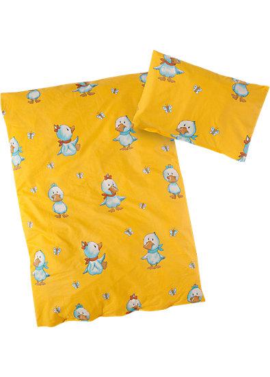 Kinderbettwäsche Ente, gelb, Cretonne, 100 x 135 cm