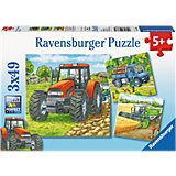 Puzzle Set - 3 x 49 Pieces - Big Farm Machines
