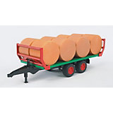 BRUDER 02220 Bale Transportation Trailer with 8 Round Bales