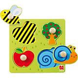 GOULA Holzpuzzle- 4 Teile- Biene, Apfelbaum, Apfel und Schnecke