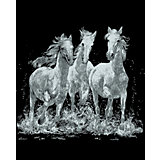 Silver scraping picture, Horses, 20 x 25.2 cm