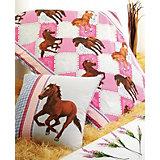 Kinderbettwäsche Pferde, rosa-blau, Cretonne, 135 x 200 cm