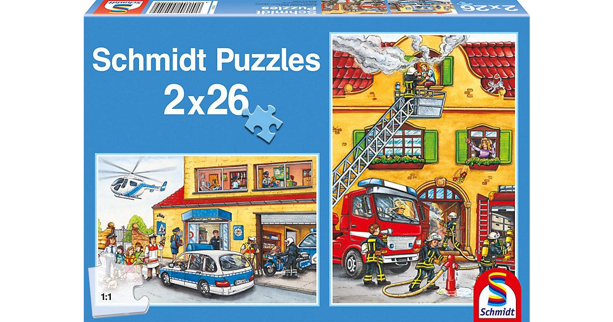 Puzzle Set 2 x 26 Teile Feuerwehr und Polizei