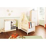 Komplett Kinderzimmer FLORIAN,  3-tlg. (Kinderbett, Wickelkommode und 2-türiger Kleiderschrank), Ahorn/Creme