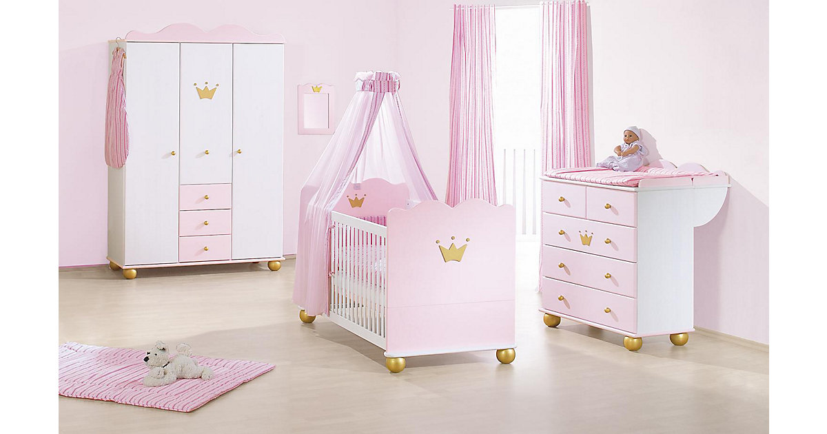 Komplett Kinderzimmer PRINZESSIN KAROLIN, 3-tlg. (Kinderbett, Wickelkommode und 3-türiger Kleiderschrank), massiv/Weiß-Rosa lasiert rosa Gr. 70 x 140