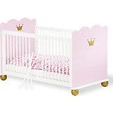 Kinderbett PRINZESSIN KAROLIN, massiv/Weiß-Rosa lasiert, 70 x 140 cm