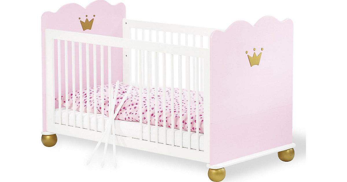 Kinderbett PRINZESSIN KAROLIN, massiv/Weiß-Rosa lasiert, 70 x 140 cm rosa