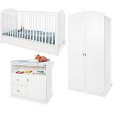 Komplett Kinderzimmer LAURA, 3-tlg. (Kinderbett, Wickelkommode und 2-türiger Kleiderschrank), weiß