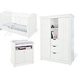 Komplett Kinderzimmer NINA, 3-tlg. (Kinderbett, Wickelkommode und großer 2-türiger Kleiderschrank mit Mittelregal), massiv/Weiß lasiert