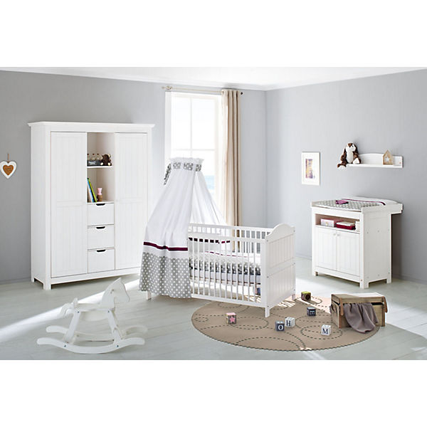 komplett kinderzimmer nina 3 tlg kinderbett wickelkommode und gro er 2 t riger. Black Bedroom Furniture Sets. Home Design Ideas