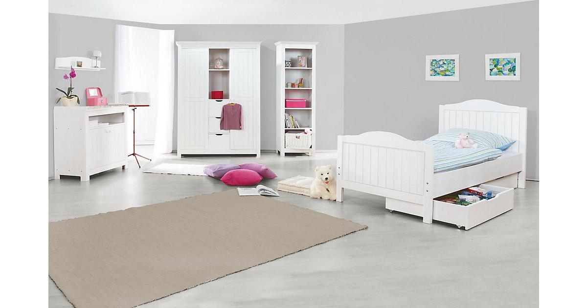 Komplett Jugendzimmer NINA groß, 3-tlg. (Jugendbett, Kommode und großer 2-türiger Kleiderschrank mit Mittelregal), massiv/Weiß lasiert weiß Gr. 90 x 200
