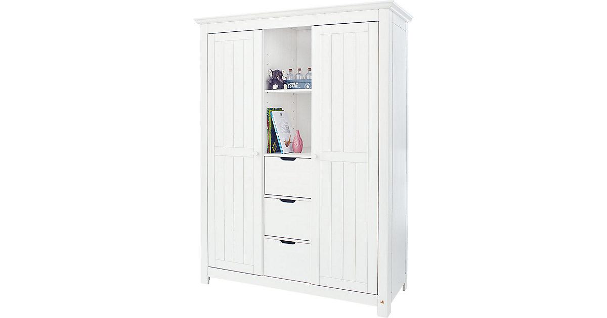 Kleiderschrank NINA, massiv/Weiß lasiert weiß