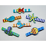 Funny Fish Wooden Pegs For Painting, 12 Pieces