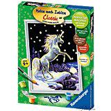Malen nach Zahlen Pferde - Einhorn im Mondschein, 18x24 cm