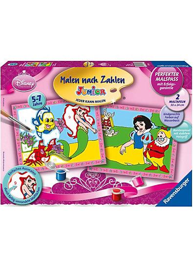 Malen nach Zahlen Junior - Disney Princess Arielle und Schneewittchen (2 Motive), 30x24 cm