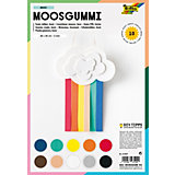 Moosgummi, 10 Blatt , farbig sortiert