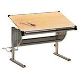 Schreibtisch IBO, Metall/Ahorn Dekor