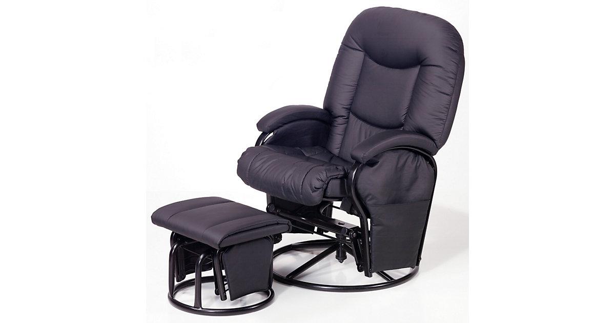 Still- und Entspannungsstuhl Metal Glider Recline mit Hocker, schwarz