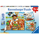 Jigsaw Puzzle Set - 3 x 49 Pieces - Pirate Adventure