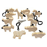 Wooden Key Rings For Painting, 12 Pieces