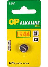 Knopfzelle GP Alkaline LR44, 76A, 1,5 Volt, 1er Blister