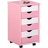 ABC Chest of Drawers on Castors, PINK