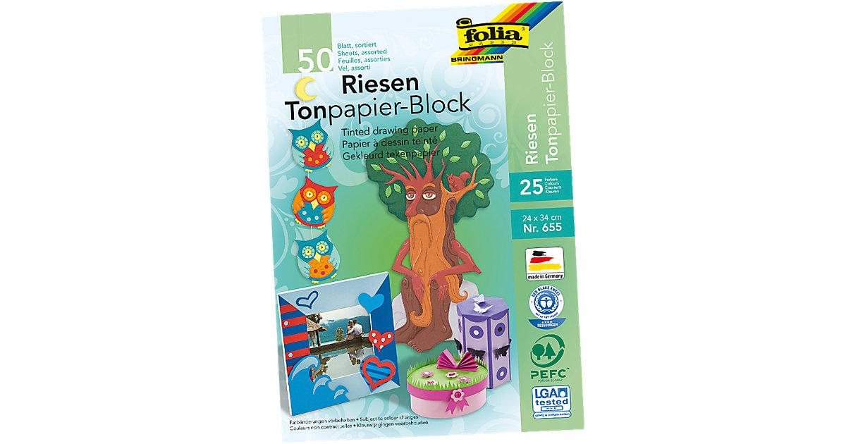 Tonpapier Riesenblock, 25 Farben, 50 Blatt