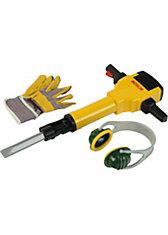klein BOSCH Bohrhammer mit Handschuhen und Ohrenschützern