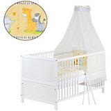 Kinderbett komplett, Kiefer weiß, teilmassiv, Dschungel, 70 x 140 cm