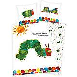 Wende- Kinderbettwäsche Die kleine Raupe Nimmersatt, Linon, 100 x 135 cm