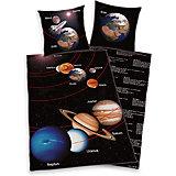 Wende- Kinderbettwäsche Unser Sonnensystem, Linon, 135 x 200 cm