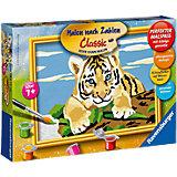 Malen nach Zahlen Serie E - Kleiner Tiger, 13x18 cm