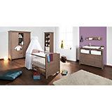 Komplett Kinderzimmer JELKA, 3-tlg. (Kinderbett, Wickelkommode und 2-türiger Kleiderschrank), Fichte massiv/Graubraun lasiert