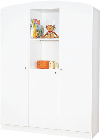 Kleiderschrank JIL, 3-türig, Kiefer/Weiß lackiert