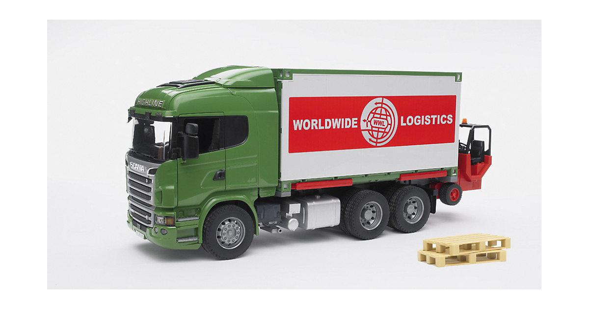 BRUDER 03580 Scania m. Container-Wechselbrücke und Mitnahmestapler