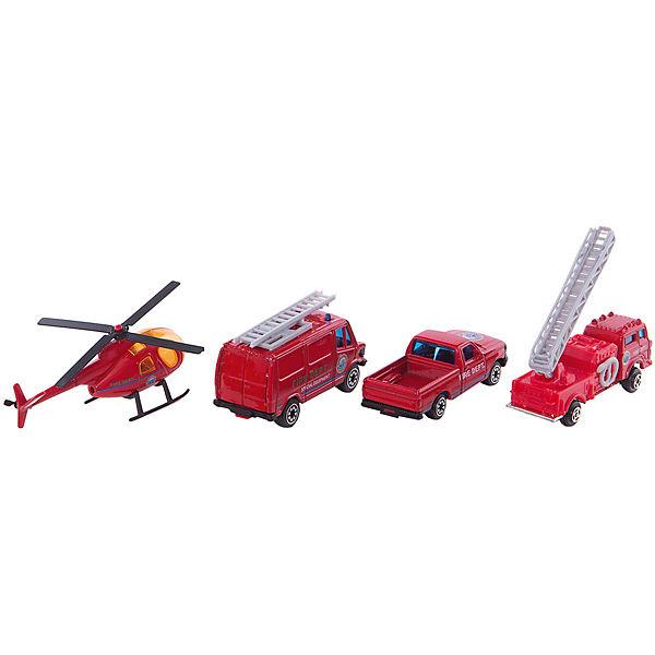"Welly Набор ""Служба спасения - пожарная команда""  4 штуки"