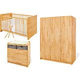 Komplett Kinderzimmer groß NATURA, 3-tlg. (Kinderbett, Wickelkommode breit und 3-türiger Kleiderschrank), Buche vollmassiv, geölt