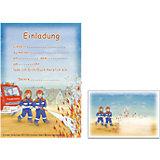 Einladungskarten-Set Feuerwehr, 24-tlg.