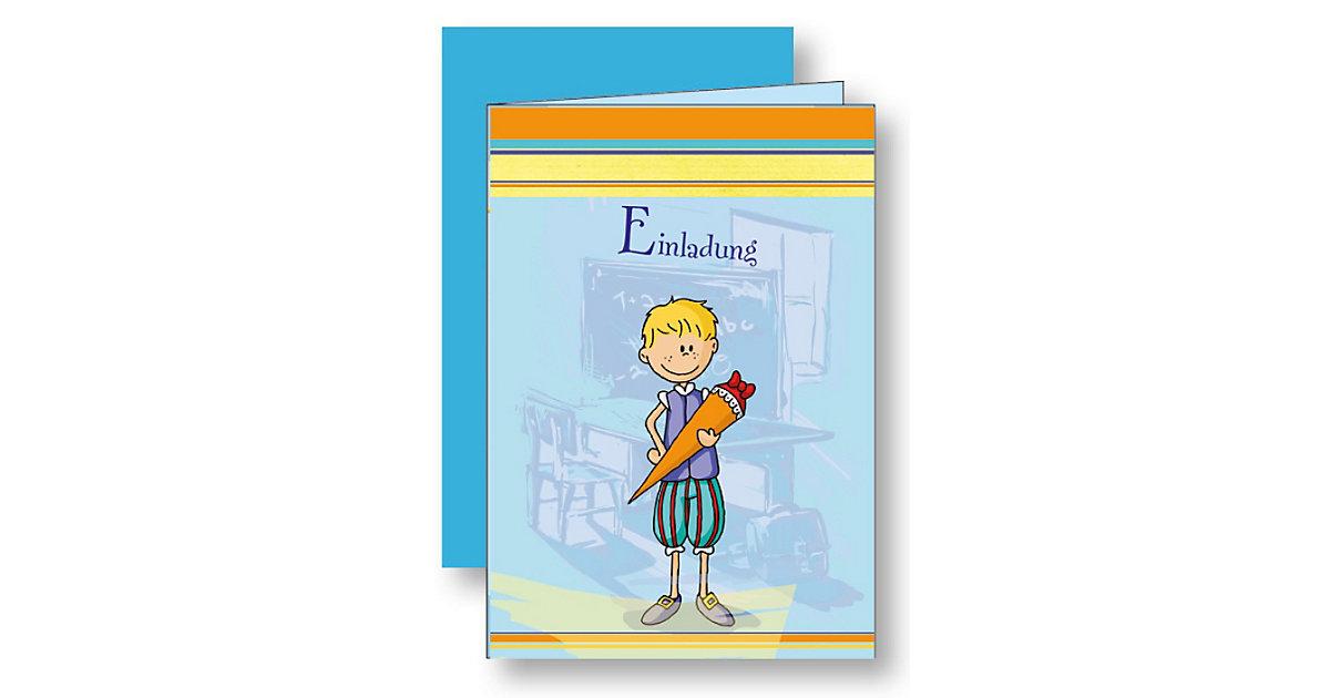 Einladungskarten Mein Schulbeginn blau