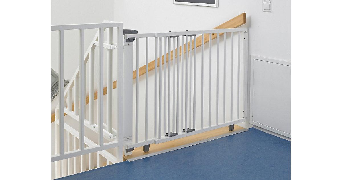 Schwenk- Treppenschutzgitter 99,5 -140 cm, massiv/weiß