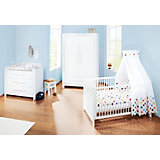 Komplett Kinderzimmer PURO, 3-tlg. (Kinderbett, Wickelkommode breit und 2-türiger Kleiderschrank), Fichte vollmassiv, Weiß lasiert