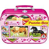 Pferde, Puzzle-Box 2x26, 2x48 Teile im Metallkoffer