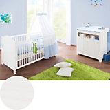 Kinderbett & Wickelkommode Sparset NINA, Fichte massiv, Weiß lasiert